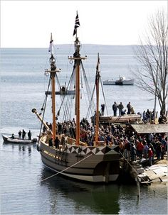 via america. org ... The Godspeed, a replica of one of the ships that carried the first settlers to Jamestown in 1607, is seen on March 18, 2006 in Rockport, Maine. The 65-foot Godspeed is a three-masted square-rigger that was built for the Jamestown Settlement living history museum in Virginia. The Godspeed will take part in the 400th anniversary celebration in 2007.