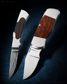 Maker: Steve Hansen Model: Lock Back Folders Left Folder: 1095 & 15N20 with blackened inlay.  416 stainless steel frame. Right Folder: 154CM with ironwood inlay.  416 stainless steel frame.  #knife #knifecommunity #handmade #knives #customknives #knifepics #handmadeknives #calebroyerphotography #knifeart #knifemaking
