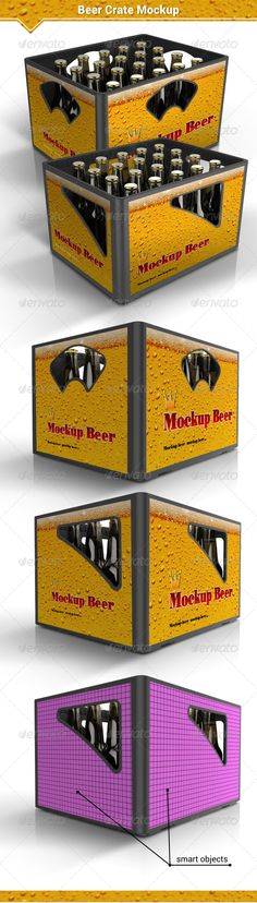 Beer Crate Mockup — Photoshop PSD #case #box • Available here → https://graphicriver.net/item/beer-crate-mockup/8109510?ref=pxcr
