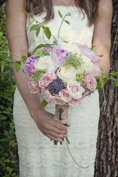bouquet with key charm #wedding #bridal #bouquet #key #charm #flowers