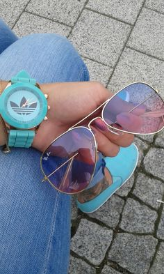 #mint #watch #rayban #sunglasses #ombre #nails