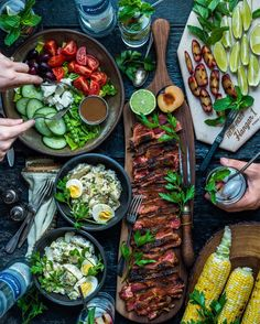 My perfect afternoon? My squad, a red hot grill, the summer sun, and a cold glass of deliciousness. These Grilled Plum Mojitos with… Good Food, Yummy Food, Cooking Recipes, Healthy Recipes, Food Platters, Meat Platter, Snacks Für Party, Food Presentation, Food Inspiration