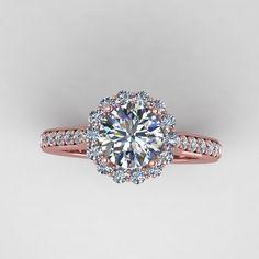 rose diamond wedding rings | rose gold diamond engagement ring with moissanite center. style ...