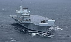 Britain's new Queen Elizabeth Aircraft Carrier, on her first day of sea trials. Looking good.