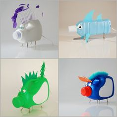 DIY Inspiration. Bottle Animals. Recycled water and detergent bottles made into animal lights - but are really cool sculptures on their own. Abyu lighting here for the bottom right pig (sold out for $185), the rest can be found here for $185(including ducks and more pigs).
