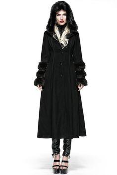 Devil Fashion Gothic Cosplay Hooded Black Long Wool Coat