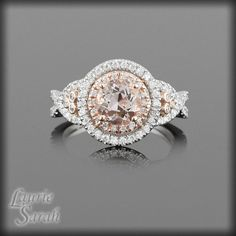 14kt Rose Gold Morganite and Diamond by LaurieSarahDesigns on Etsy, $2611.50