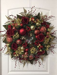 Christmas Wreath Winter Wreath Elegant Christmas Holiday Wreath Evergreen Wreath Red and Gold Wreath Holiday Decor Christmas Decor by CharmingBarnBoutique on Etsy by toni Elegant Christmas, Noel Christmas, All Things Christmas, Christmas Crafts, Christmas Decorations, Etsy Christmas, Large Christmas Wreath, Christmas Swags, Burlap Christmas