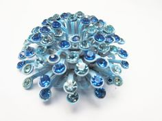 Powder Blue Rhinestone Enamel Flower Brooch by Serendipityfindings