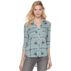 Women's Rock & Republic® Tie-Dye Plaid Top (110 BRL) ❤ liked on Polyvore featuring tops, med grey, button front top, tartan top, long length tops, tie-dye tops and tie dyed tops