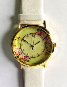 Floral Watch, Vintage Style Leather Watch