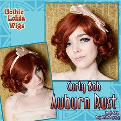 Gothic Lolita Wigs | Curly Bob - Auburn Rust | Model: Marie | DayJaVUE Photography