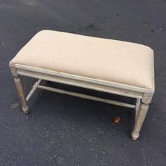 Small Upholstered Bench with Fluted Legs