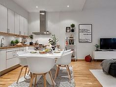 Home Decor Interior Designs Open Kitchen And Living Room, Sweet Home, Appartement Design, Small Room Design, Scandinavian Kitchen, Apartment Interior Design, Cuisines Design, Home Kitchens, Home Decor