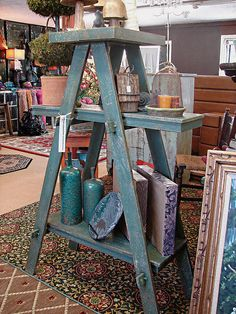 Shabby Primitive Bookcase Ladder Shelving Unit Book by CURIOSITYNC, $199.00