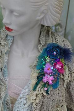 Blues brooch bold ornate brooch antique lace embroidered