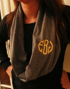 Our School Colors! Brown/Gold! Perfect Gift! Monogrammed Infinity scarf, jersey knit infinity scarf, monogram included in the price