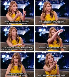 Jennifer talking about seeing Adele in Golden Globes ..... Hahaha