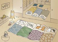 Watashi no neko collection . I Love Cats, Crazy Cats, Cute Cats, Book Illustration, Illustrations, Japanese Cat, Cat Drawing, Sleepover, Cat Art