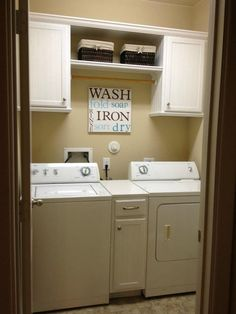 Really like the cabinet between the washer and dryer