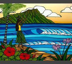 Hula Girl by Hawaii Surf Artist Heather Brown #surfart #heatherbrown #hawaiiart #tropicalart