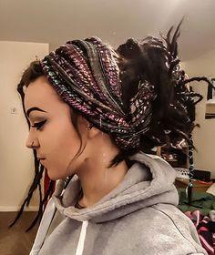 Finally got the hang of the dreadlock bun wrap. Natural dreads with permanent synthetic extensions. #dreads #dreadlocks #girlswithdreads #whitedreads #naturaldreadlocks