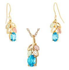 Blue Topaz Gold Earrings & Pendant Set