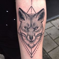 Ou un renard en pointillés.   49 idées sublimes de tatouages noir et gris