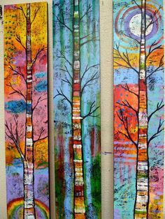 Peace Art Studio - colorful paintings of treestextile a forest for CAQ collaborative Peace Art Studio - Love these colorful paintings of trees!Peace Art Studio - Love these colorful paintings of trees! I might try something like this on my three full Art Painting, Art Pole, Tree Painting, Art Projects, Painting, Whimsical Art, Art, Abstract, Peace Art