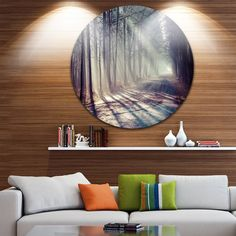 Phase1 Designart 'Morning Sunbeams to Forest Road' Landscape Photo Disc Metal Wall Art