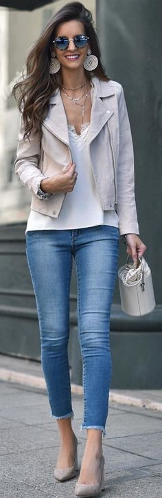#winter #outfits white shirt and blue jeans