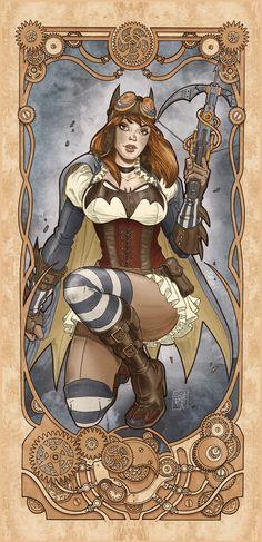 Batgirl Steampunk Nouveau by LucaMaresca