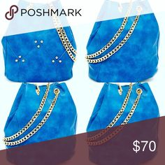 Leather bucket bag Blue leather bucket bag with gold cross body chain Bags Crossbody Bags