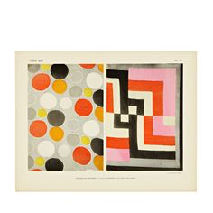 vintage textile lithograph by Sonia Delaunay $200