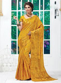 Yellow Tussar Silk Sarees #Sarees #IndianSareesOnline #SilkSarees #TussarSilkSarees #SareesOnline #OnlineShopping