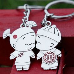 Customize Lover Keychain LOVERS COUPLES GIFT KEYCHAIN ANCIENT CHINESE BOY& GIRL