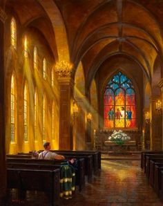 """Thomas Kinkade - We are the """"church,"""" and sometimes it's just you and Jesus and that is enough! ♥♥♥"""