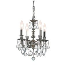 Crystorama Cast Brass Mini Chandelier Accented with Swarovski Elements Crystal 4 Lights - Pewter - 5504-PW-CL-S