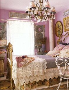 Vintage shabby chic..I love the color on the wall..not for everyone...but it is beautiful....