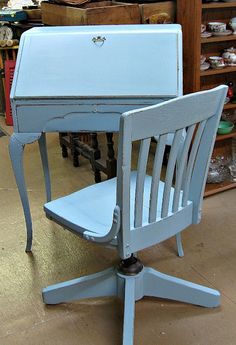 Ladies Writing Desk and Old Teacher's Chair from Baylis School Blue Chalk Paint
