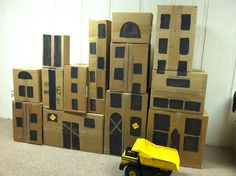 Construction Party Demolition City built from empty boxes - go ahead and snicker