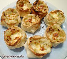 Canastitas de puerro y verdeo a la bechamel | Cocina