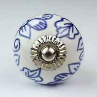 WHITE BLUE FLORAL CERAMIC FURNITURE CUPBOARD DOOR PULL KNOB HANDLE SHABBY CHIC