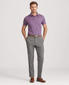 Shop the men's Custom Slim Fit Piqué Polo at the world of Ralph Lauren. Browse our designer men's polo shirts today. Slacks Outfit, Polo Shirt Outfits, Mens Polo T Shirts, Summer Work Outfits, Casual Work Outfits, Business Casual Outfits, Casual Shirts, Color Combinations For Clothes, Mens Fashion Suits