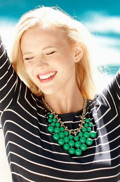"""Jolie Necklace $79 Striking kelly green beads sway on voluptuous vintage-inspired bib necklace. Chain with gold plating.  19"""" length with 3"""" extender.  Lobster clasp.  Wear short or long.  Lead and nickel safe. www.stelladot.com/debbieb"""