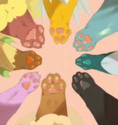 Eevee Evolution Paws!!! Top right all the way round: Flareon, Jolteon, Vaporeon, Glaceon, Eevee, Espeon, Leafeon!!! Love Umbreon and Espeon!