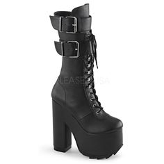 Women's Demonia Cramps-202 Platfrom Lace-Up Knee Boot Black Punk Goth #Demonia #boots