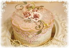 Such a Pretty Mess: Cheery Lynn Gardenia Bloom {Flower Video Tutorial} Decoupage, Shabby Chic Boxes, Flower Video, Pink Cards, Pretty Box, Altered Boxes, Craft Box, Craft Ideas, Flower Tutorial