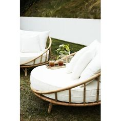Bayou Breeze Olu Patio Daybed with Cushions | Wayfair Rattan Daybed, Patio Daybed, Outdoor Daybed, Outdoor Seating, Outdoor Spaces, Outdoor Decor, Outdoor Living, Cane Furniture, Bamboo Furniture