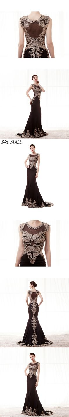 BRLMALL Stunning Black Mermaid Evening Dresses Gold Lace Appliques cap short sleeves long prom dress party gown vestido de festa